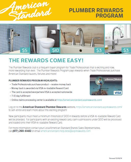 American Standard Plumber\'s Rewards - Plumbing HVAC Distributor in CT