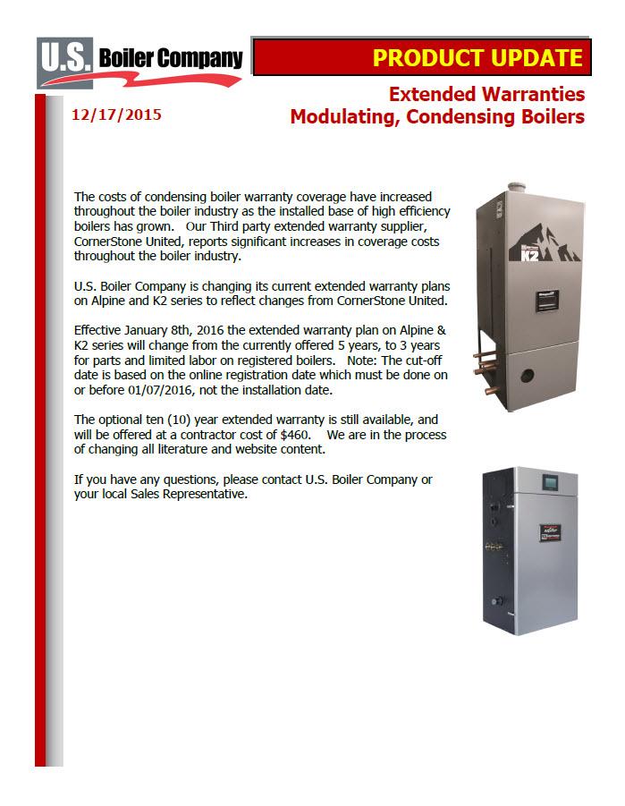 Product Update U S Boiler Company Extended Warranties